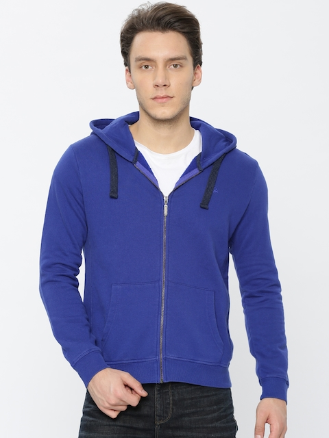 United Colors of Benetton Men Blue Solid Hooded Sweatshirt