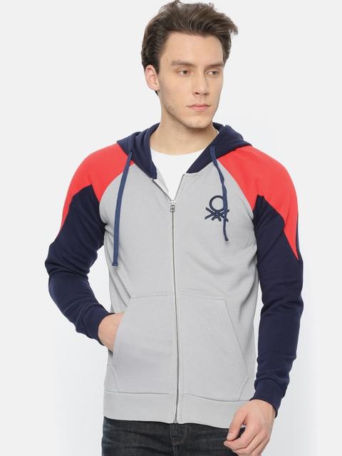 United Colors of Benetton Men Grey & Navy Colourblocked Solid Hooded Sweatshirt