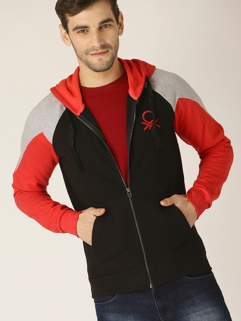 United Colors of Benetton Men Black & Red Colourblocked Hooded Sweatshirt
