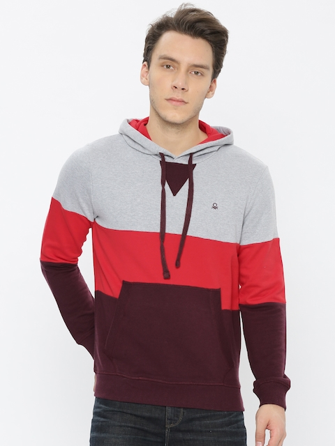 United Colors of Benetton Men Grey & Orange Colourblocked Hooded Sweatshirt