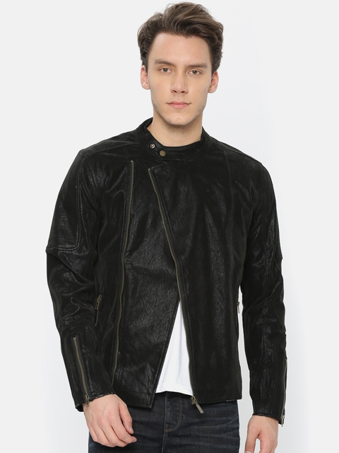 United Colors of Benetton Men Black Solid Biker Jacket