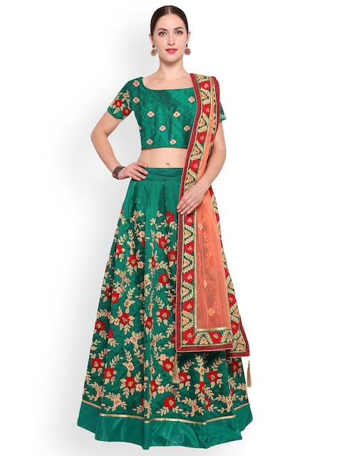 Styles Closet Green & Pink Embroidered Semi-Stitched Lehenga & Unstitched Blouse with Dupatta