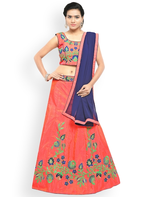 Styles Closet Orange & Blue Embroidered Semi-Stitched Lehenga & Unstitched Blouse with Dupatta