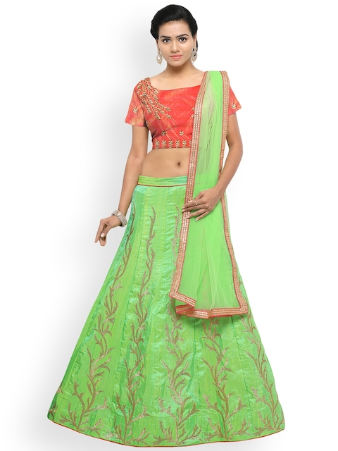 Styles Closet Lime Green & Peach-Coloured Embroidered Semi-Stitched Lehenga & Unstitched Blouse with Dupatta