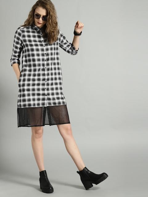 Roadster Women Black & White Checked Shirt Dress