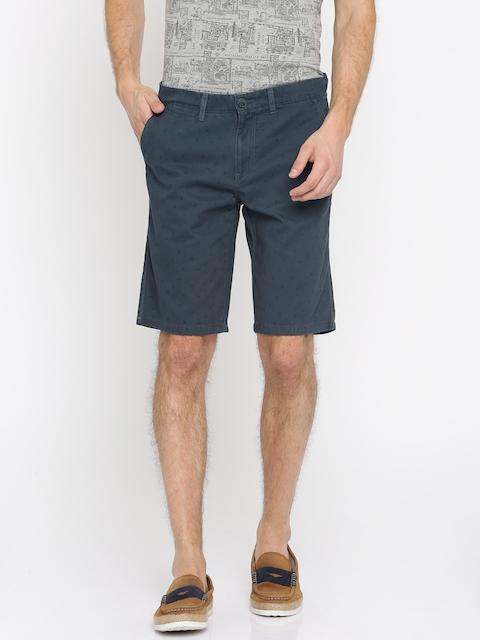 Lee Cooper Men Navy Blue Printed Slim Fit Chino Shorts