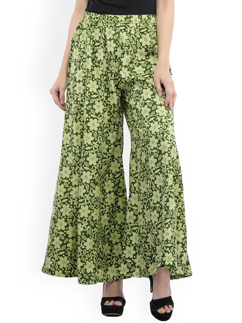 Cottinfab Women Green Flared Printed Palazzos