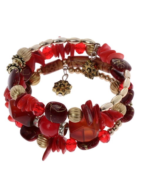 Shining Diva Red Metal Contemporary Bracelet