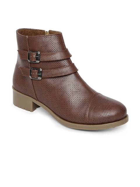 Marc Loire Women Brown Solid Synthetic Leather Mid-Top Flat Boots