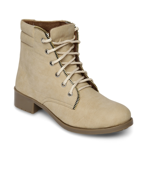 Marc Loire Women Beige Solid Synthetic Leather Mid-Top Flat Boots