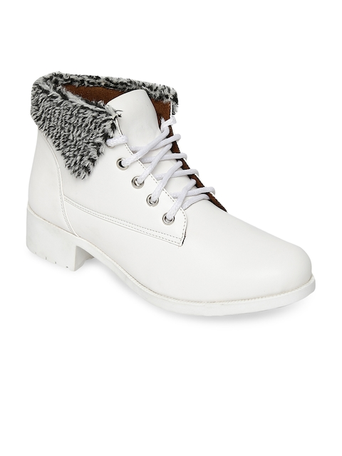 Marc Loire Women White Solid Synthetic Leather Mid-Top Flat Boots