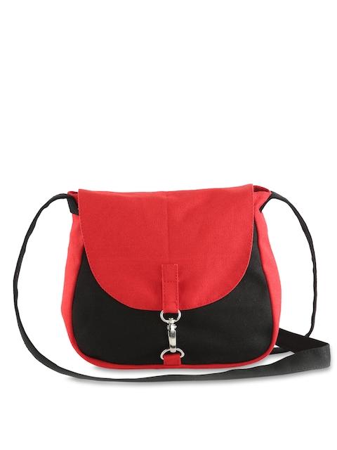 Vivinkaa Red & Black Colourblocked Sling Bag