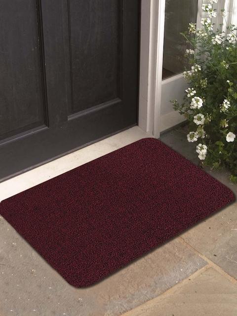 Athom Trendz Maroon Rectangular Anti-Skid Doormat
