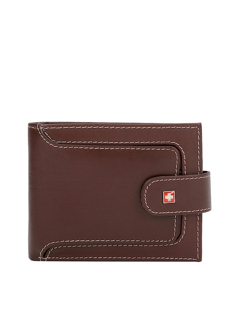 SWISS MILITARY Men Brown Genuine Leather Solid Two Fold Wallet