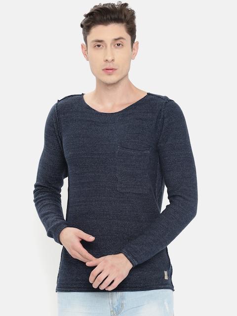Jack & Jones Men Blue Solid Pullover Sweater