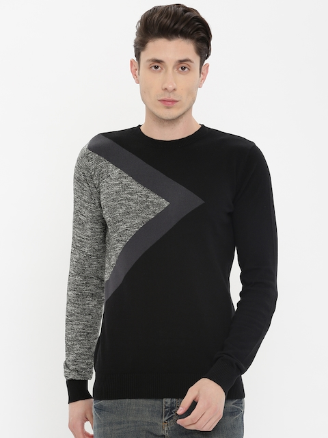Jack & Jones Men Black Colourblocked Pullover