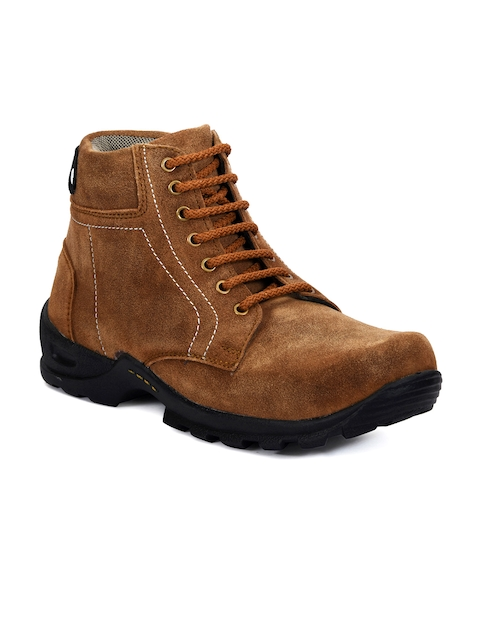 bacca bucci Men Brown Solid Suede High-Top Flat Boots