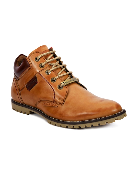 bacca bucci Men Tan Solid Synthetic Leather High-Top Flat Boots