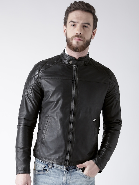 BARESKIN Men Black Solid Leather Jacket