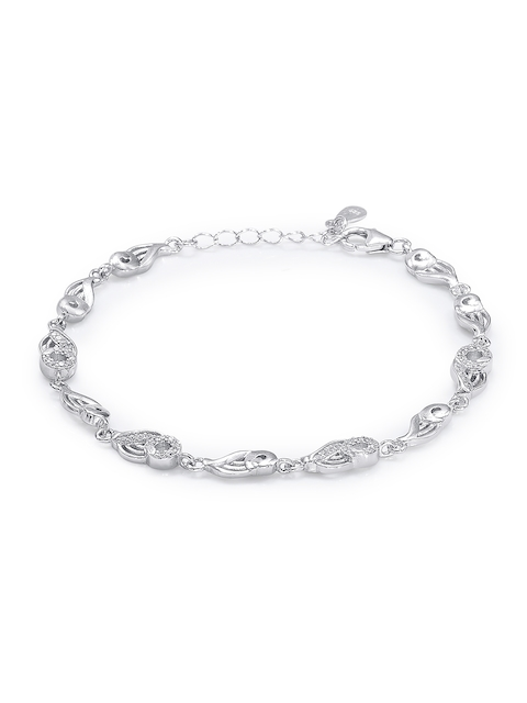 Taraash Silver-Toned Sterling Silver Contemporary Bracelet