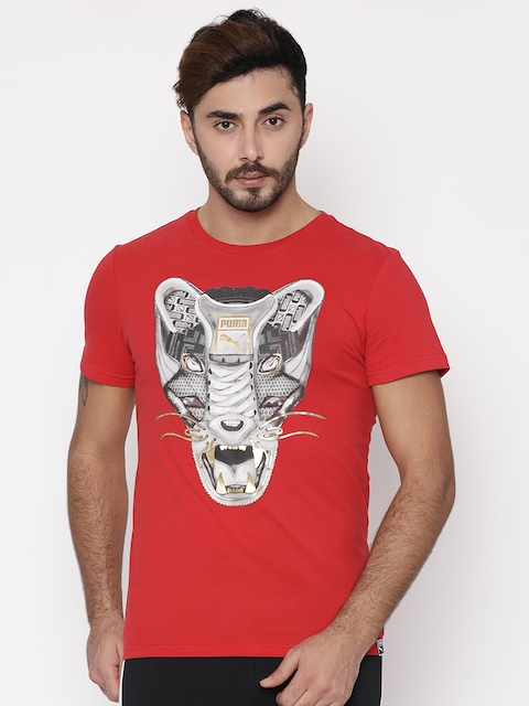 Puma Men Red Printed Round Neck Sneaker T-shirt  available at myntra for Rs.899