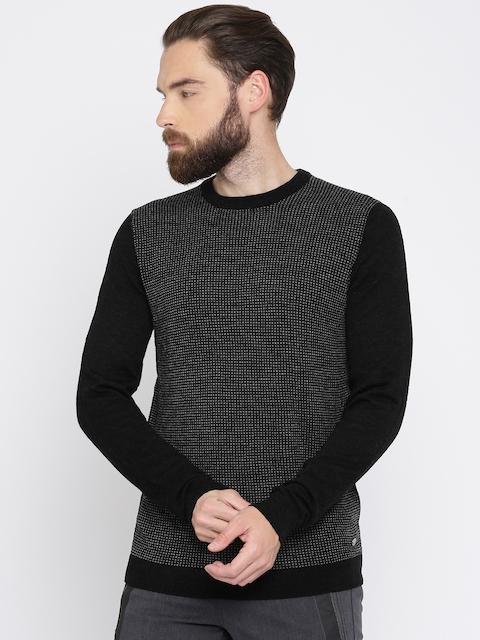 GAS Men Black & Charcoal Grey Self Design Pullover