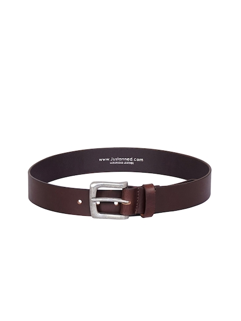 Justanned Men Brown Solid Leather Belt