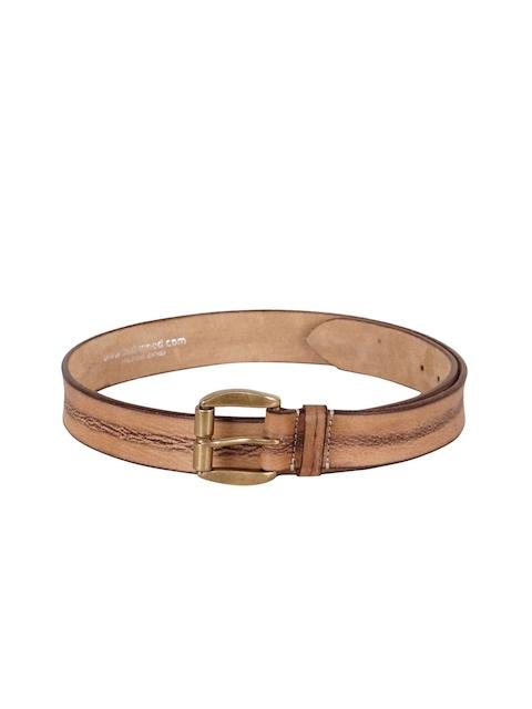 Justanned Men Beige Solid Leather Belt