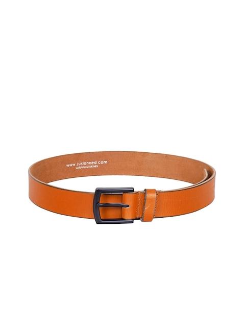 Justanned Men Tan Solid Leather Belt