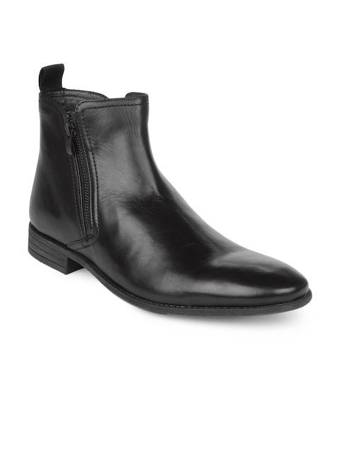 Clarks Men Black Solid Leather Mid-Top Flat Boots
