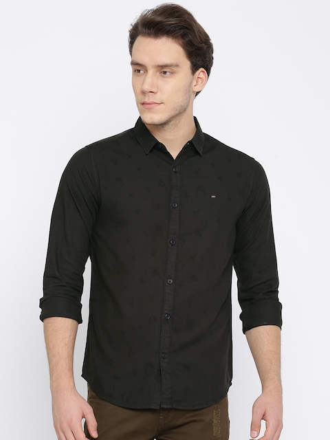 SPYKAR Men Black Regular Fit Self Design Casual Shirt