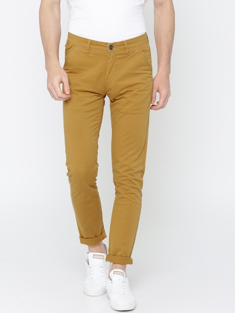 SPYKAR Men Mustard Yellow Regular Fit Solid Chinos