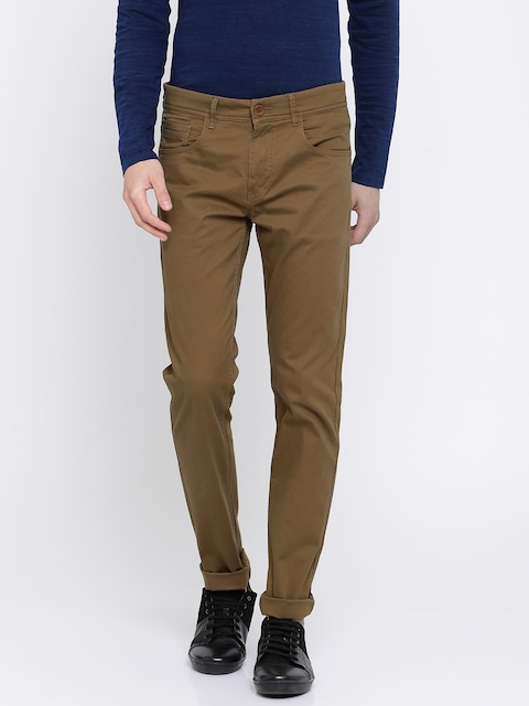 SPYKAR Men Brown Regular Fit Solid Chinos