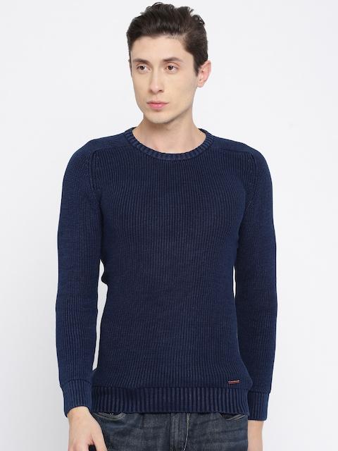 SPYKAR Men Navy Self Design Pullover