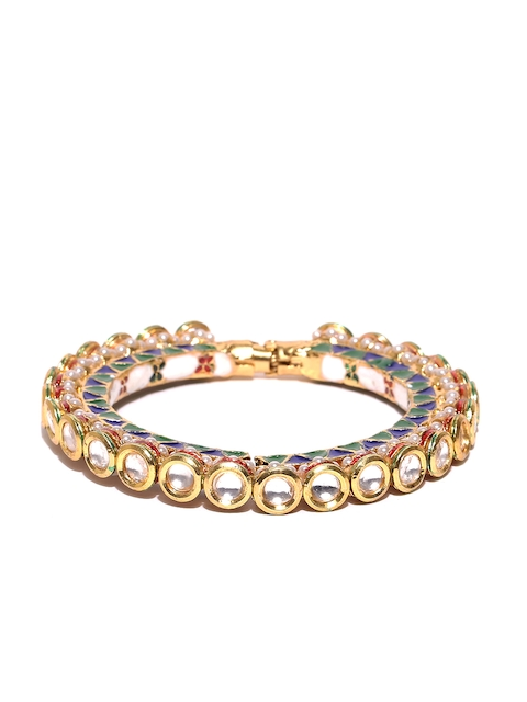 Priyaasi Off-White & Blue Gold-Plated Handcrafted Bangle-Style Bracelet