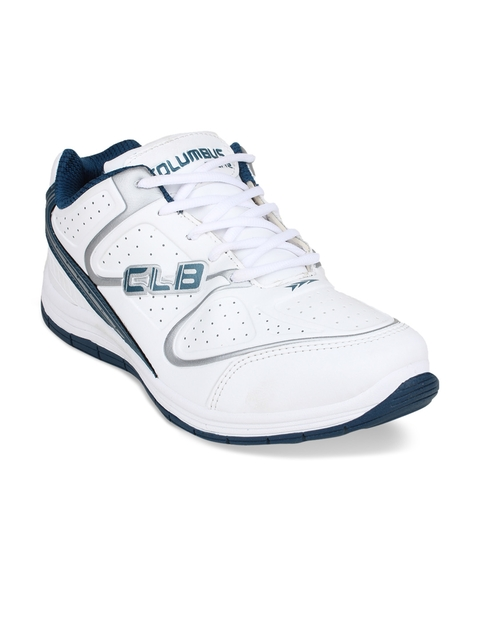 Columbus Men White & Teal Training or Gym Shoes