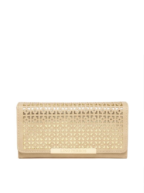 Lisa Haydon for Lino Perros Women Beige Laser Cut Three Fold Wallet