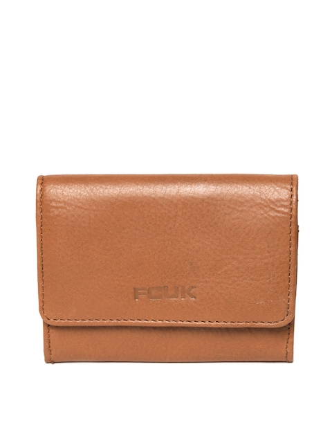 French Connection Men Tan Brown Solid Card Holder