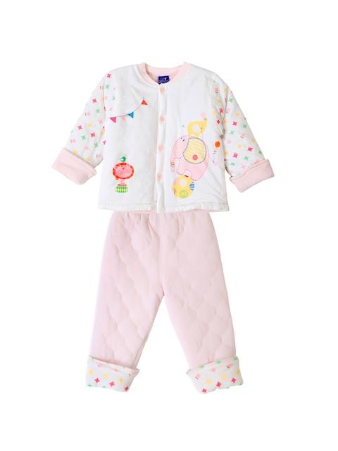 Lilliput Unisex Pink & White Printed T-shirt with Pyjamas