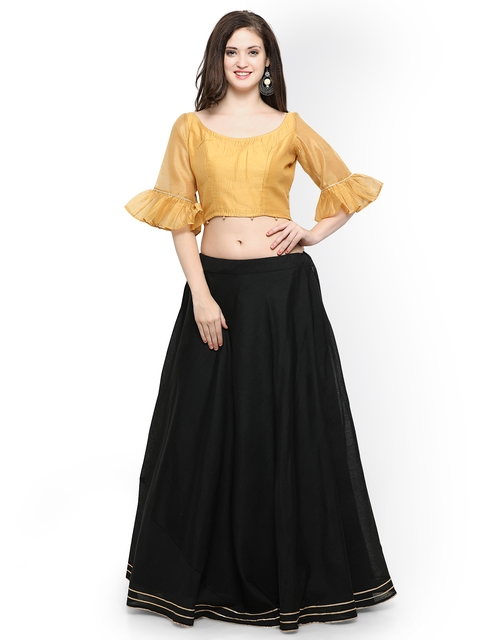 Inddus Black Semi-Stitched Lehenga with Blouse