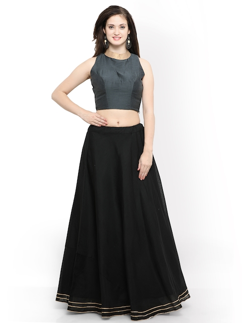 Inddus Black & Grey Semi-Stitched Lehenga with Blouse