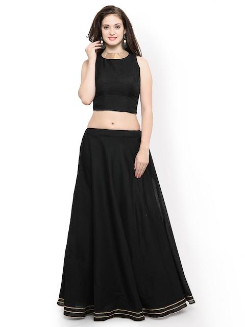 Inddus Black Semi-Stitched Lehenga with Blouse