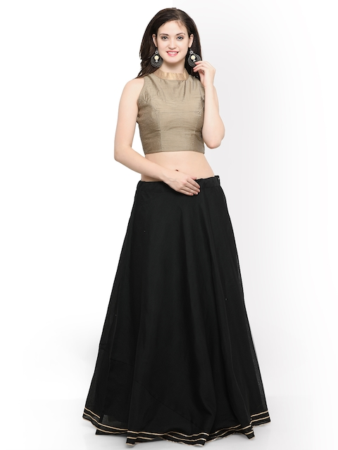Inddus Black & Beige Semi-Stitched Lehenga with Blouse