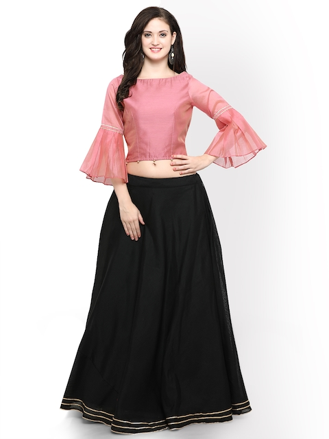 Inddus Black & Pink Semi-Stitched Lehenga with Blouse