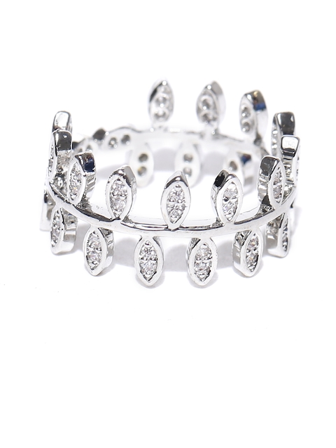 Jewels Galaxy Silver CZ Stone-Studded Ring