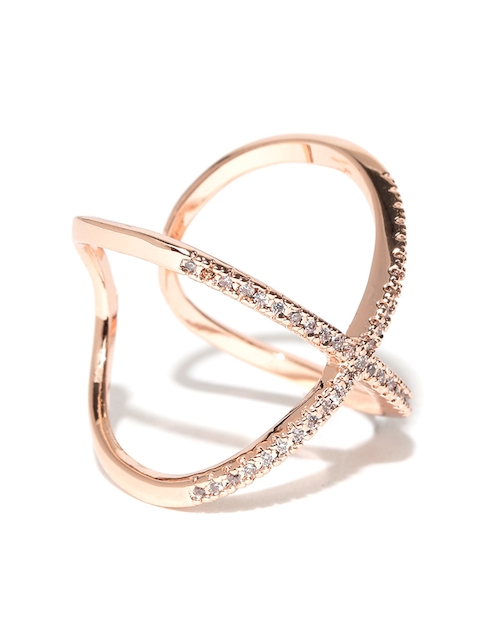 Jewels Galaxy 18K Rose Gold-Plated Zircon Stone-Studded Adjustable Ring