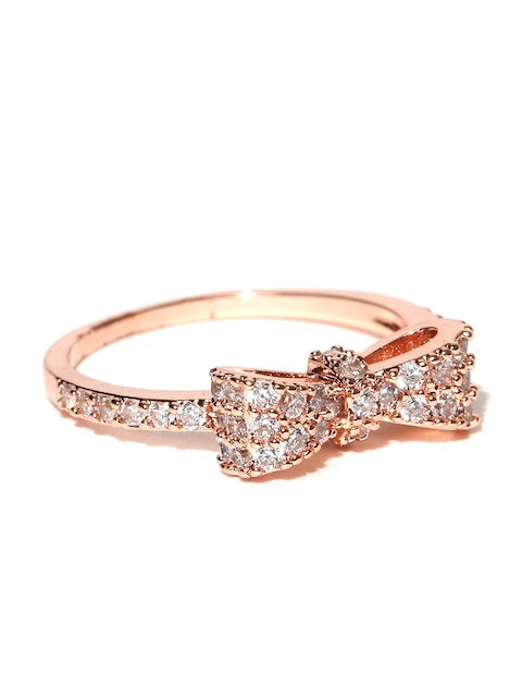 Jewels Galaxy 18K Rose Gold-Plated Austrian Diamond Studded Ring