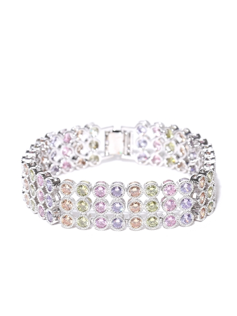 Jewels Galaxy Multicoloured Silver-Plated Handcrafted Stone-Studded Bracelet