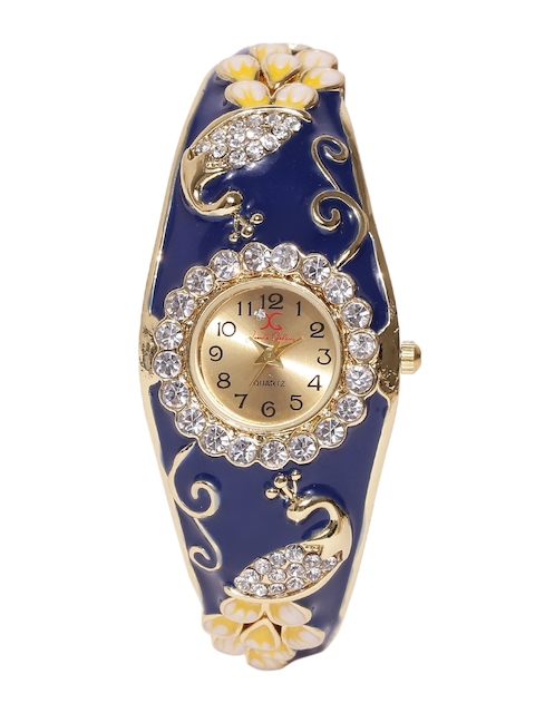 Jewels Galaxy Navy & Off-White Gold-Plated Handcrafted Bracelet Cum Watch