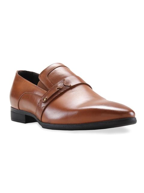 Franco Leone Men Tan Formal Slip-On Shoes